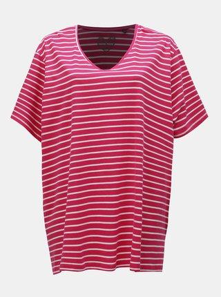 Tmavě růžové pruhované basic tričko s rozparky Ulla Popken