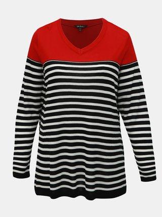 Čierno–červený pruhovaný tenký sveter Ulla Popken