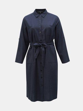 Tmavě modré lněné košilové midišaty Ulla Popken