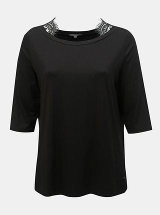 Čierne tričko s čipkou Ulla Popken