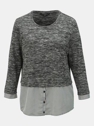 Sivý melírovaný tenký sveter so všitou košeľovou časťou Ulla Popken