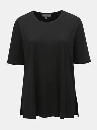 Tricou basic negru cu taieturi Ulla Popken
