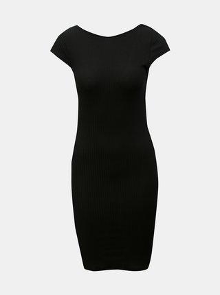 Čierne rebrované puzdrové šaty ONLY Pablo