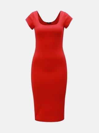 Červené puzdrové basic šaty s okrúhlym výstrihom ZOOT