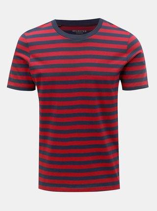 Červeno-modré pruhované basic tričko Selected Homme