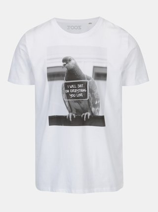 Tricou alb cu print pentru barbati - Original I will shit on everything you love
