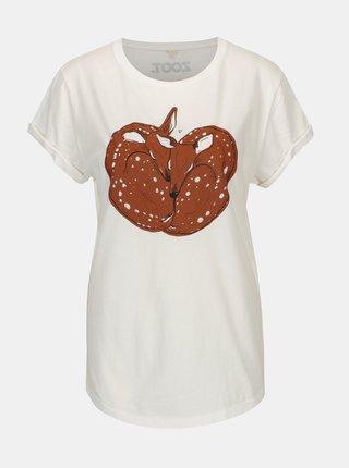Tricou alb prafuit cu print pentru femei - ZOOT Original Deer love