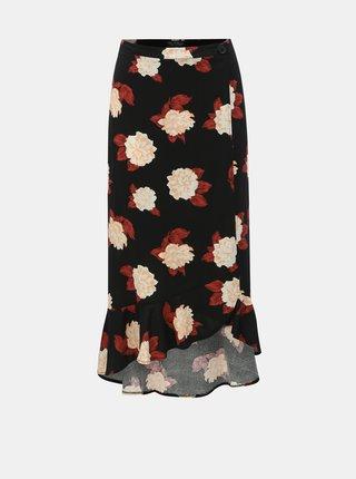 Černá květovaná zavinovací sukně Miss Selfridge