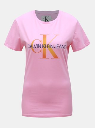 86459707a302 Ružové dámske tričko s potlačou Calvin Klein Jeans