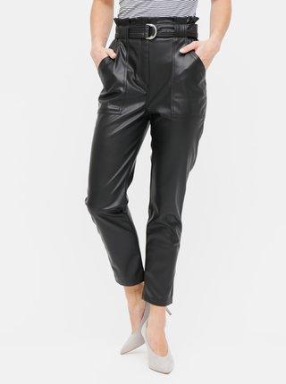Pantaloni negri din piele sintetica cu curea si talie inalta TALLY WEiJL