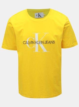 Žlté pánske tričko s potlačou Calvin Klein Jeans