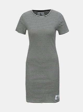 78daa396242f Bielo–čierne pruhované puzdrové šaty Calvin Klein Jeans