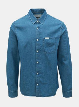480104181908 Modrá pánska rifľová regular fit košeľa Calvin Klein Jeans