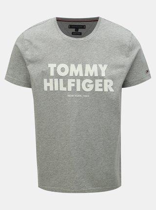 a116a16fb106 Sivé pánske melírované tričko s potlačou Tommy Hilfiger