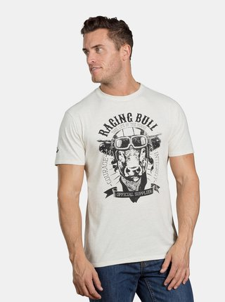 Krémové melírované tričko s potlačou Raging Bull