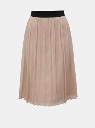 Svetloružová sukňa s metalickými vláknami VERO MODA Aurora