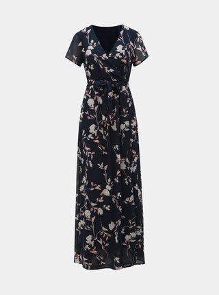 Tmavě modré květované maxišaty s překládanou sukní VERO MODA Amsterdam