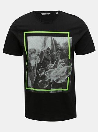 Čierne tričko s potlačou ONLY & SONS Petal