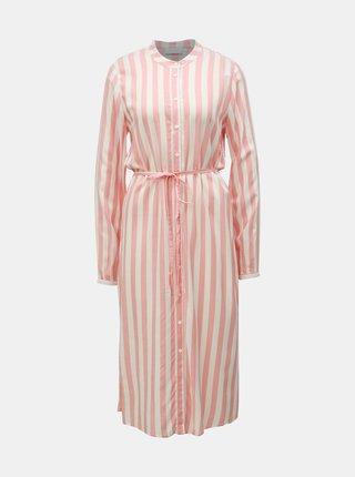 Krémovo-růžové pruhované košilové midišaty VILA Harper