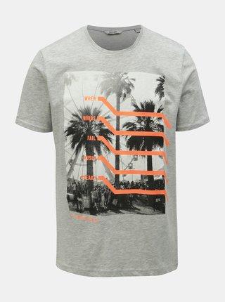 Šedé žíhané tričko s potiskem ONLY & SONS Petal