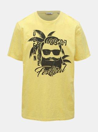 Žluté tričko s potiskem ONLY & SONS Promto
