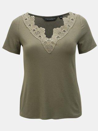 Kaki rebrované tričko s čipkou Dorothy Perkins Curve