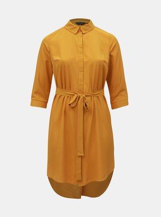 Hořčicové košilové šaty Dorothy Perkins Curve