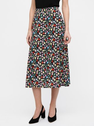 Černá květovaná midi sukně Jacqueline de Yong Shilla