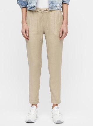 7d0227cfbec2 Béžové dámske ľanové nohavice GANT
