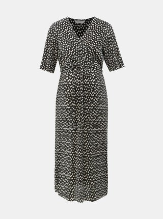 f9fa58ea34d7 Čierne tehotenské plisované bodkované šaty Dorothy Perkins Maternity