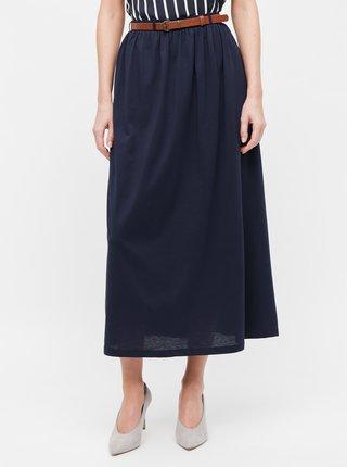 Tmavě modrá midi sukně VERO MODA Daina