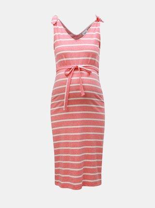 Ružové tehotenské pruhované šaty Mama.licious Annetta