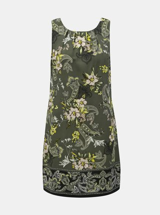 Khaki květované pouzdrové šaty Dorothy Perkins Petite