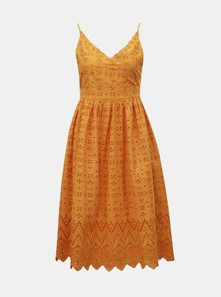 Hořčicové šaty na ramínka s madeirou Dorothy Perkins Petite
