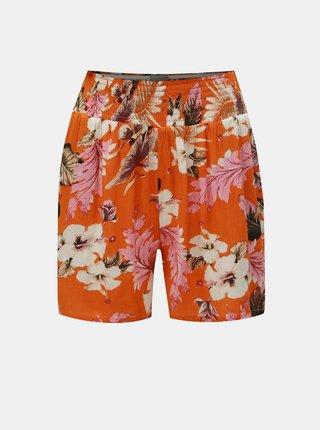 Oranžové kvetované kraťasy Dorothy Perkins Petite