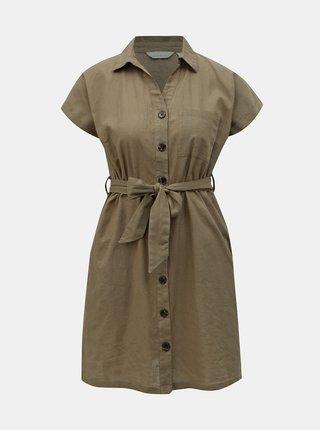 Khaki košilové šaty s příměsí lnu Dorothy Perkins Petite