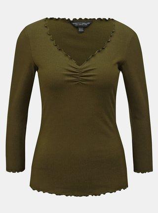 Kaki rebrované tričko s 3/4 rukávom Dorothy Perkins