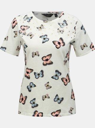 Biele vzorované tričko s výšivkou Dorothy Perkins
