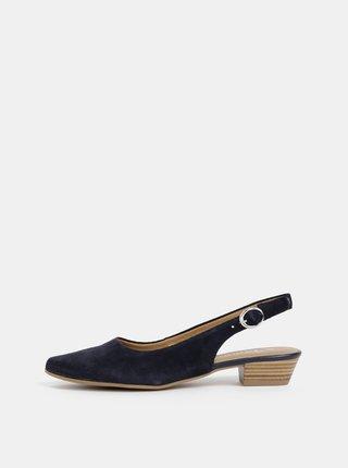Pantofi albastru inchis din piele intoarsa Tamaris