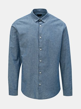 Camasa albastra regular fit cu amestec de in Selected Homme Reglinen