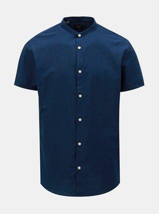 Tmavě modrá slim fit košile s příměsí lnu Selected Homme