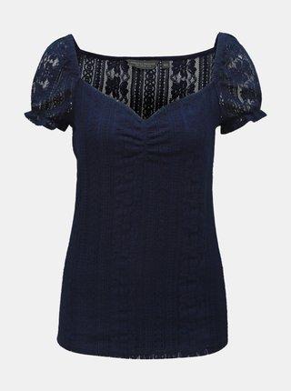 Tmavě modrý krajkový top Dorothy Perkins Tall