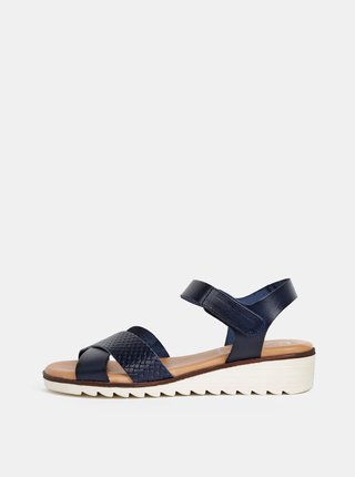 1fc3f0b70781 Tmavomodré kožené sandále na plnom podpätku OJJU