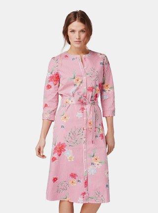 Růžové vzorované košilové šaty Tom Tailor