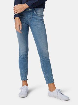 Modré dámské slim fit džíny s výšivkou Tom Tailor
