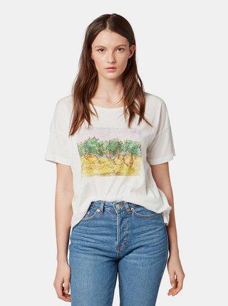 Bílé dámské tričko s potiskem Tom Tailor Denim