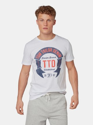Tricou barbatesc alb Tom Tailor Denim