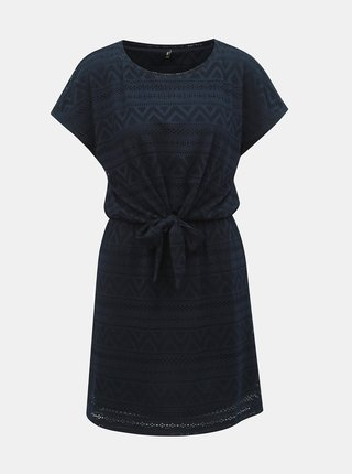 Tmavomodré čipkované šaty s mašľou ONLY Jolly