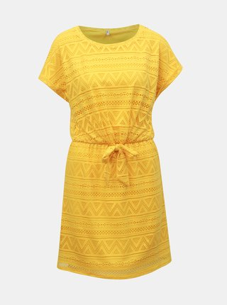Žluté krajkové šaty s mašlí ONLY Jolly