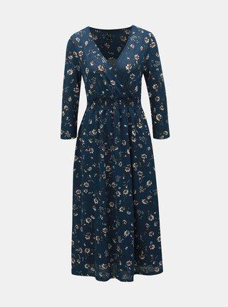 Tmavě modré květované midišaty ONLY Pella